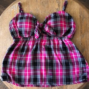 No Boundaries Pink/Gray Plaid  Camisole Size 3-5